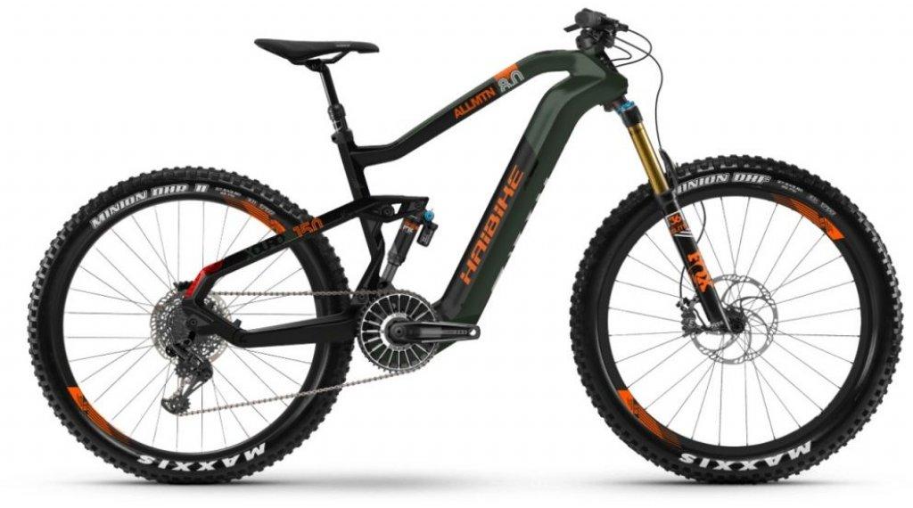 """Haibike XDURO AllMtn 8.0 27.5""""Flyon MTB E-Bike Komplettrad Gr. S oliv/carbon/orange matt Mod. 2020"""