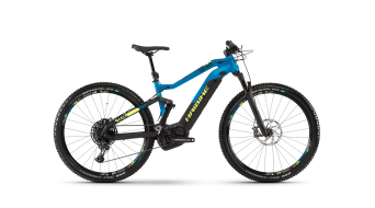 "Haibike SDURO FullNine 9.0 500Wh 29"" MTB e-bike fiets zwart/blauw(e)/geel mat model"