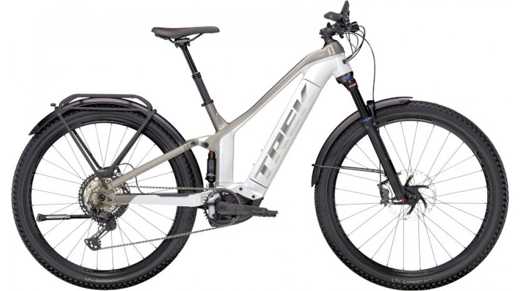 "Trek Powerfly FS 9 Equipped 27.5"" E-Bike MTB Komplettrad Gr. S crystal white/metallic gunmetal Mod. 2021"