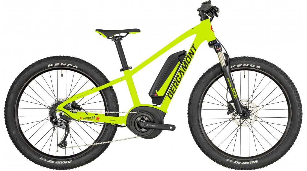 "Bergamont E-Revox Junior 24 24"" E-Bike MTB Komplettrad Kinder-Rad Gr. 32 cm green/black/red (matt) Mod. 2019"