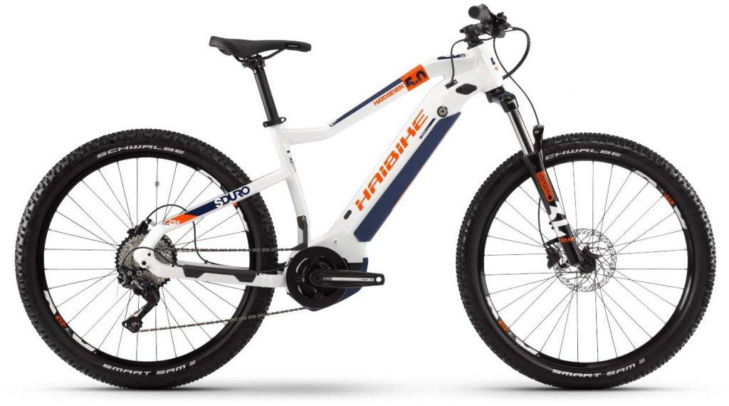 "Haibike SDURO HardSeven 5.0 27.5"" MTB E-Bike Komplettrad Gr. S weiß/orange/blau Mod. 2020"
