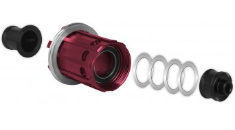 Tune 改装组件 Shimano 15, Campagnolo 至 Shimano, 适用于 Ø15mm 轴, 黑色, 适用于 花鼓 有红色 自由轮体, 也 适用于 MAG150 和 MAG160 (+10克)