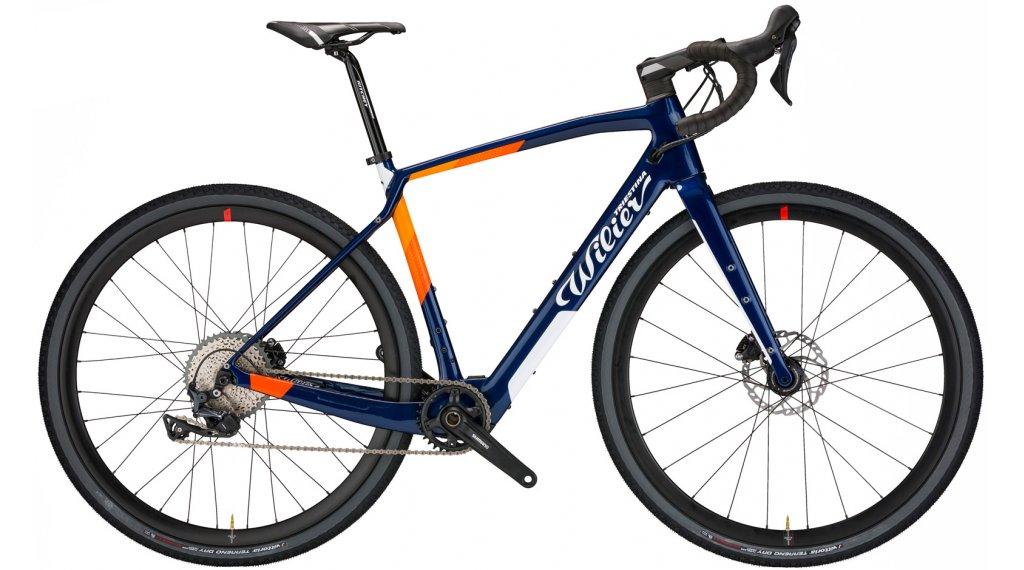 Wilier Jena Hybrid 28 E-Bike Gravel 整车 Shimano GRX 2x11 / Wilier Air38KC 型号 S blue/橙色 glossy 款型 2021