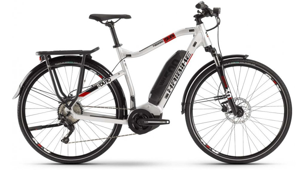 "Haibike SDURO Trekking 2.0 28"" E-Bike Komplettrad Herrren Gr. S silber/schwarz/rot Mod. 2020"