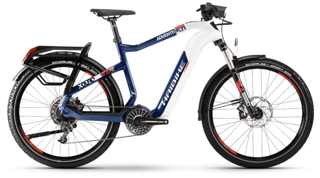 Haibike XDURO Adventr 5.0 27.5 E-Bike Trekking Komplettrad Gr. M weiß/blau/orange Mod. 2021
