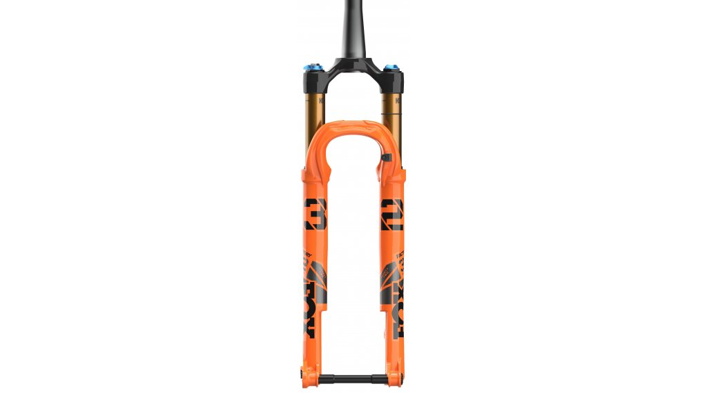 """Fox 32 Float Stepcast FIT4 Remote-Adjust Factory Serie 29"""" Federgabel 100mm 1.5 Tapered 15x110mm Kabolt 44mm Offset Shiny orange black/clear Logo Mod. 2021"""