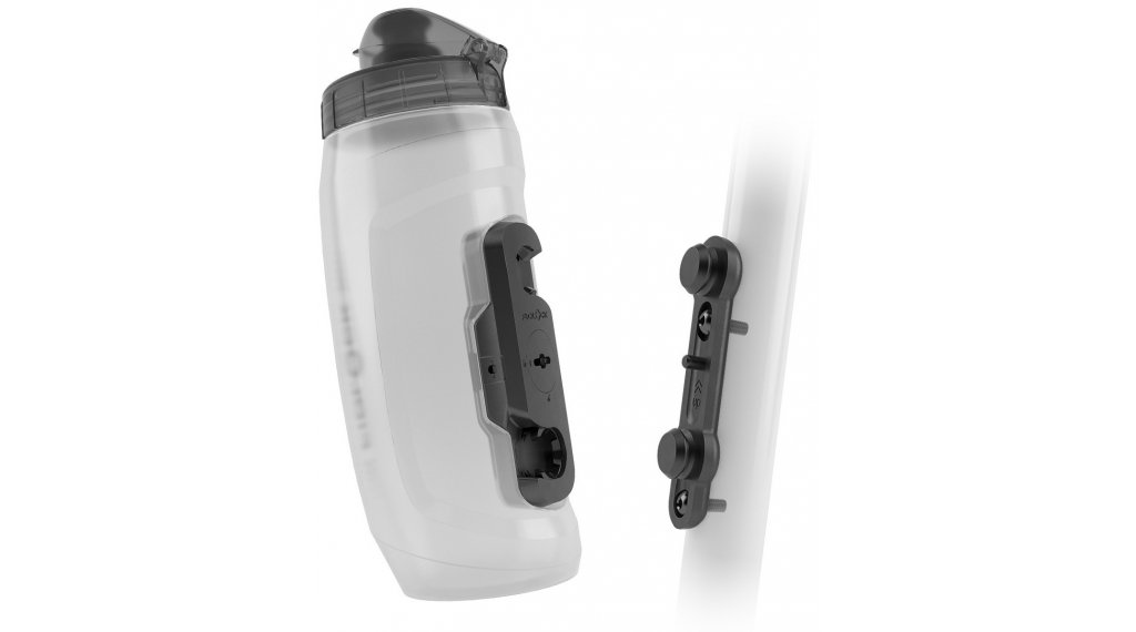Fidlock Bottle Twist Trinkflasche Logo mit Bike Base 590ml transparent/black