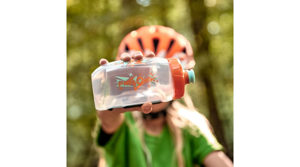 Fidlock Bottle Twist Trinkflasche Logo mit Bike Base Kids 450ml orange/blue