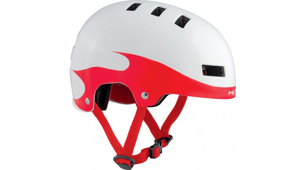 MET Yo-Yo Kinder-Helm Gr. S (51-55cm) white red flames/glossy