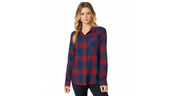 FOX Kick It Flannel shirt long sleeve ladies size S dark red