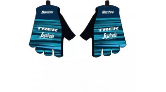 Santini Trek-Segafredo Team gloves short ladies dark blue/light blue