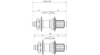 Hope PRO 4 Boost 后轮碟刹花鼓 28-Loch 12x148mm Shimano/SRAM 自由轮 black