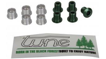 Tune aluminium vis de plateau set pour 2-vitesses vert (10-teilig) (pas pour Campa Torque-manivellen)