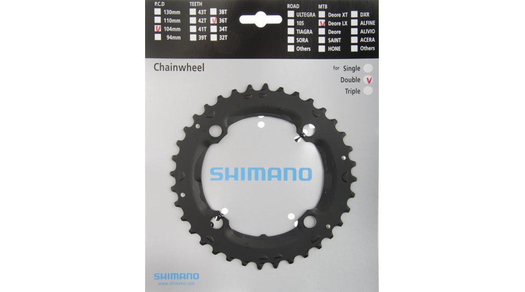 Shimano SLX M665 36t 104mm 9-Speed Middle Chainring Black