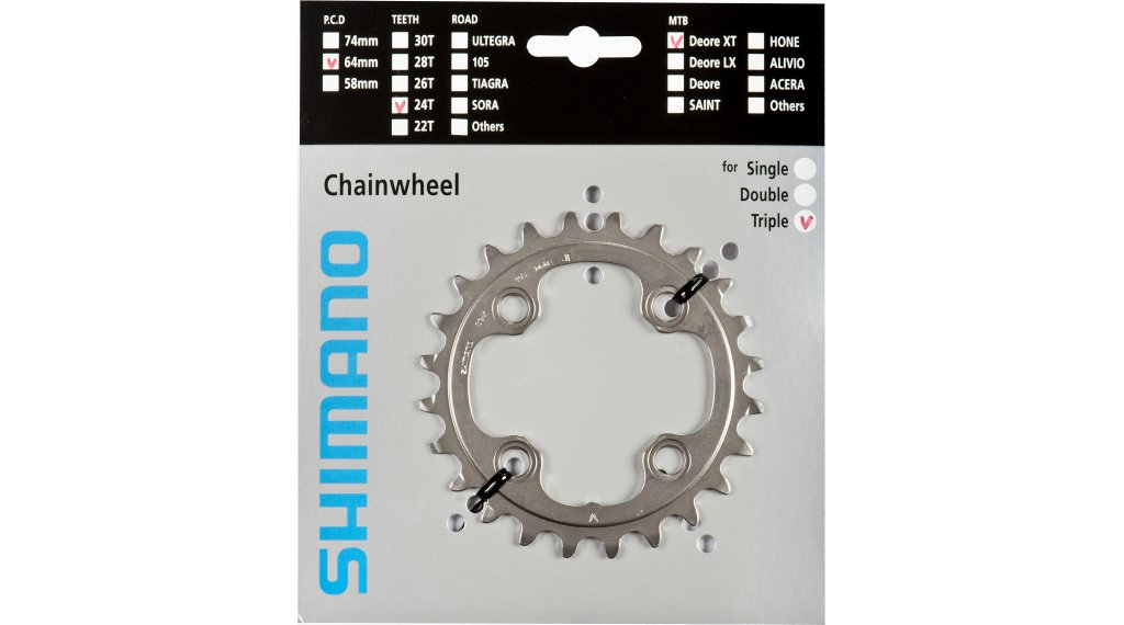 SHIMANO XTR M980 24T X 64MM 10-SPEED AE-TYPE BLACK BICYCLE CHAINRING