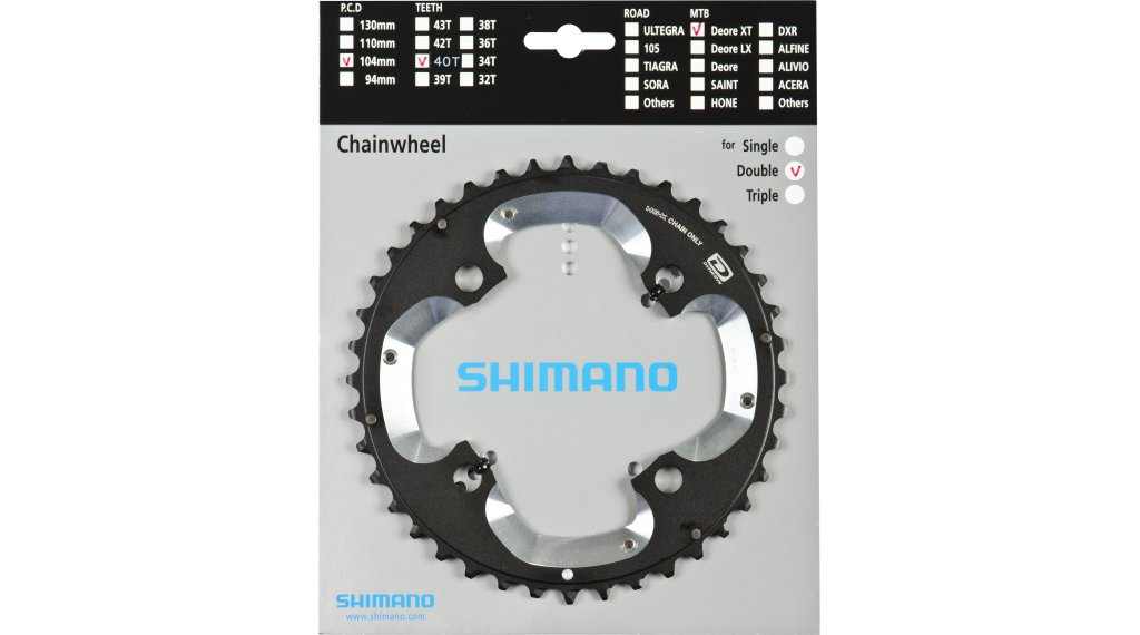 Shimano XT Dyna-Sys 10-fach Kettenblatt 40 Zähne (40/28T) (AJ) FC-M785
