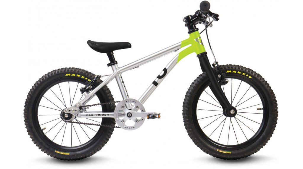 "Early Rider Belter Trail 16 Kinderrad 16"" Singlespeed Belt Drive brushed aluminium/lime"