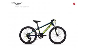 "Ghost Kato 2.0 AL en 20"" MTB fiets Jungen-fiets (of wiel) unisize night blue/neon yellow model 2018"