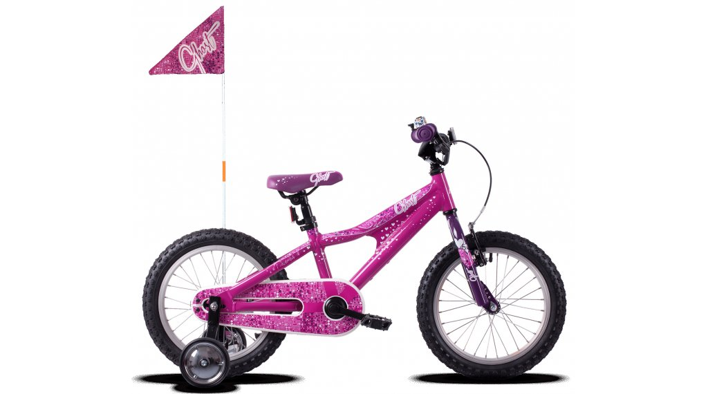 Ghost Powerkid AL 16 bike kids size  unisize dark fuchsia pink/violet/star white 2021