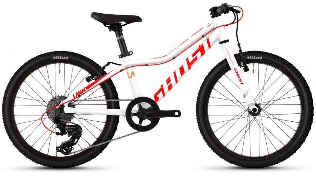 """Ghost Lanao Kid R1.0 AL W 20"""" MTB bici completa bambini mis. unisize star white/neon red/juice arancione mod. 2019"""