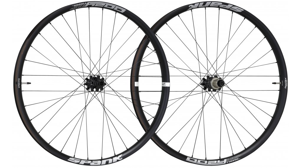 "Spank Oozy Trail-395+ 27.5"" Disc Laufradsatz Shimano-Freilauf VR: 15x100+20x110mm / HR: QR+12x135mm+12x142mm black"
