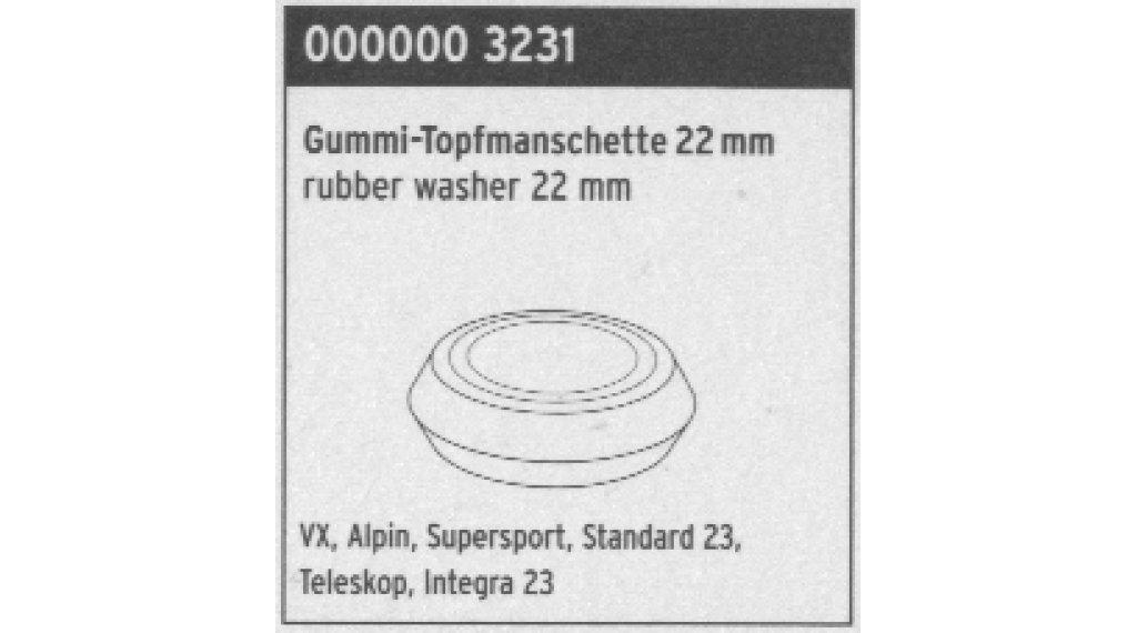 SKS pieza de recambio goma-sello de copa 22mm para VX, Alpin, Supersport, estándar 23, Teleskop, Integra 23