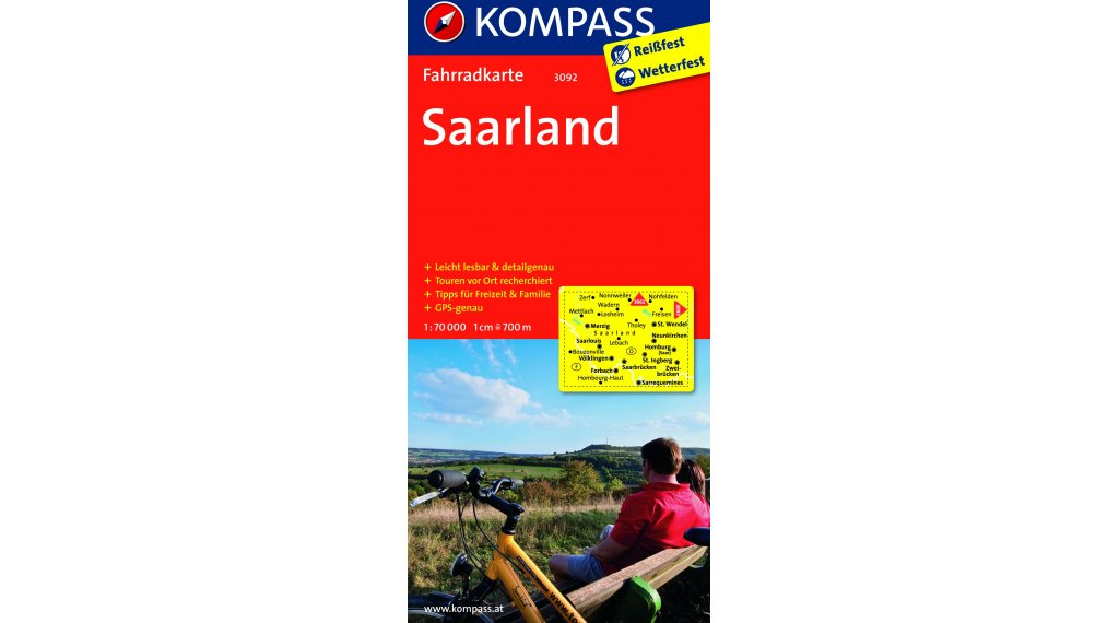 Kompass Radwanderkarte Deutschland Saarland - 1:70.000