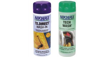 Nikwax two-pack Tech Wash cleaner and TX.Direct Wash-In waterproofing