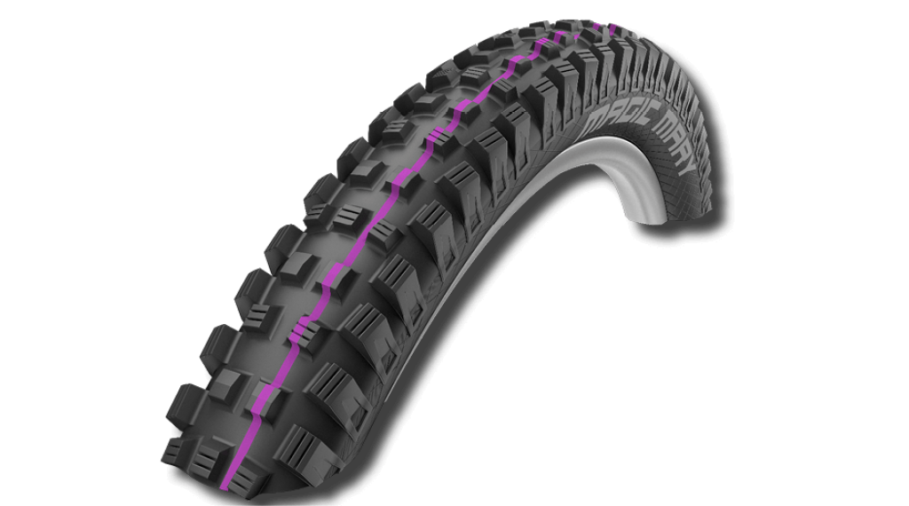 "Schwalbe Magic Mary 27.5"" wire bead tire Evolution Downhill Snake-Skin 60-584 (27.5x2.35) Addix Ultra Soft-compound black"