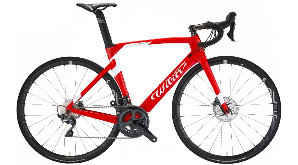 """Wilier Cento1Air Disc 28"""" Rennrad Komplettrad Shimano 105/Shimano RS170 Gr. XS red/white glossy Mod. 2020"""