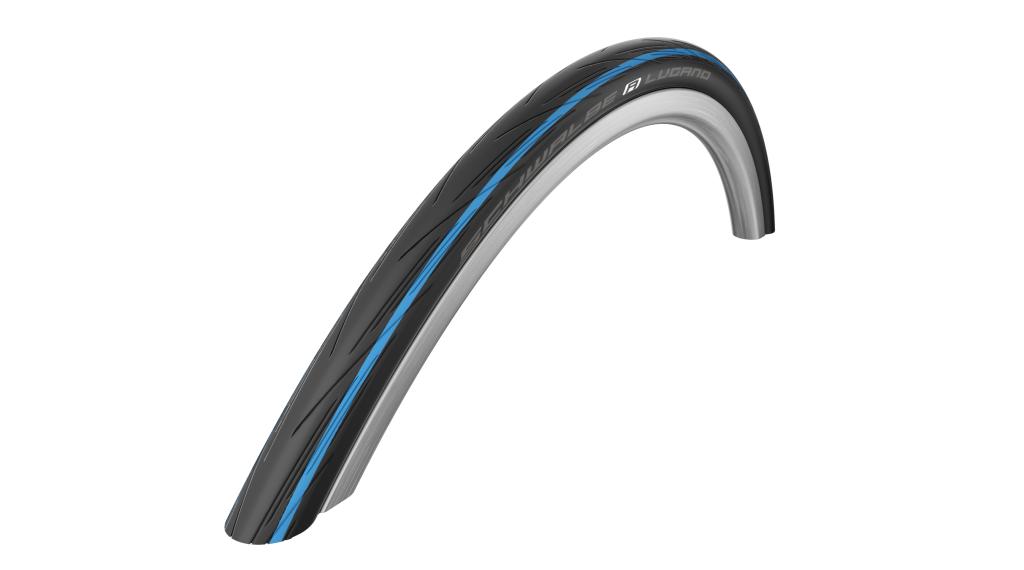 """Schwalbe Lugano 28"""" wire bead tire Active K-Guard Lite-Skin 25-622 (700x25C) Silica-compound blue stripes"""