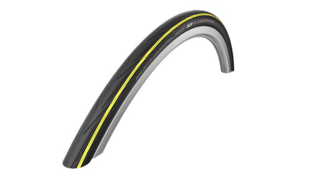 """Schwalbe Lugano 28"""" wire bead tire Active K-Guard Lite-Skin 25-622 (700x25C) Silica-compound yellow stripes"""