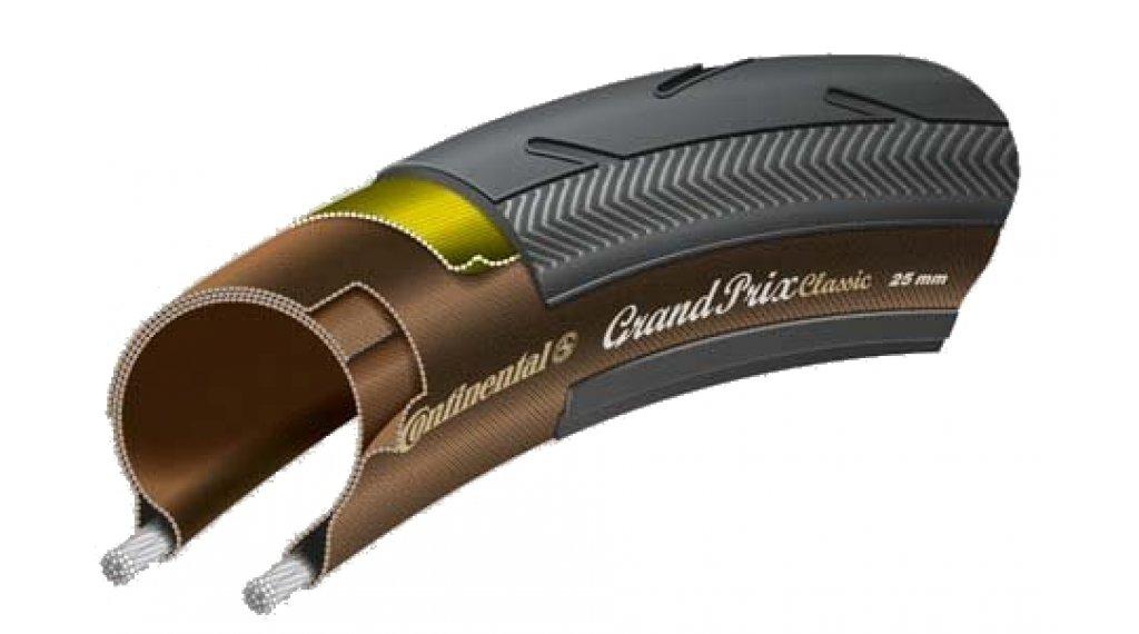 "Continental Grand Prix Classic 28"" 公路赛车-折叠轮胎 25-622 (700x25C) black/透明的 Skin"