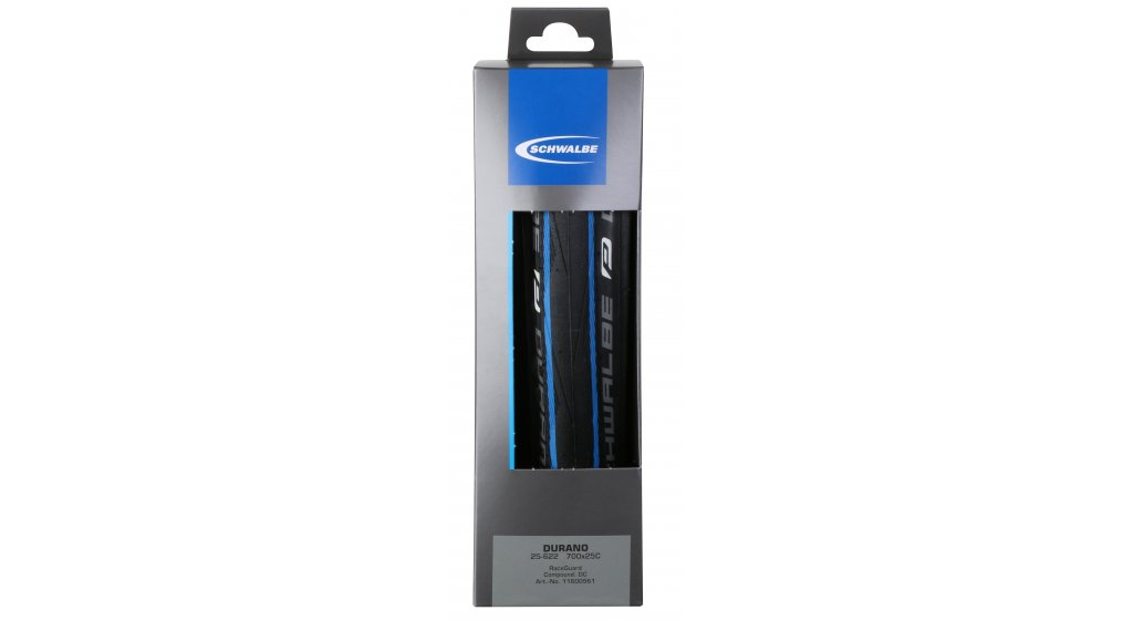 "Schwalbe Durano 28"" gomma ripiegabile Performance RaceGuard Lite-Skin 25-622 (700x25C) Dual-Compound blu stripes"