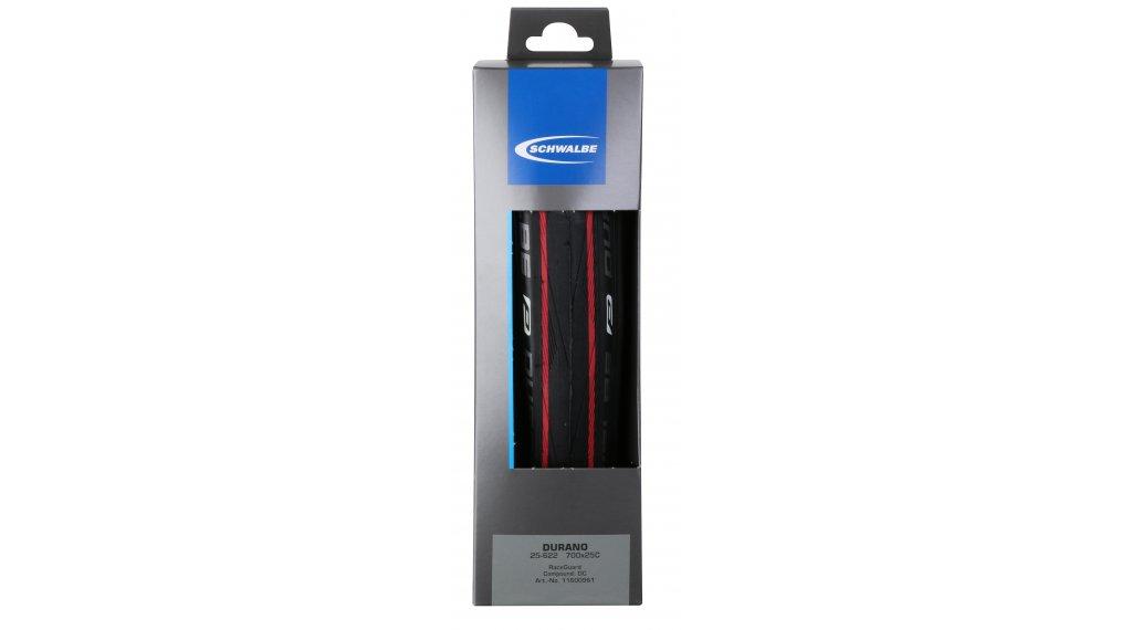 """Schwalbe Durano 28"""" gomma ripiegabile Performance RaceGuard Lite-Skin 25-622 (700x25C) Dual-Compound rosso stripes"""