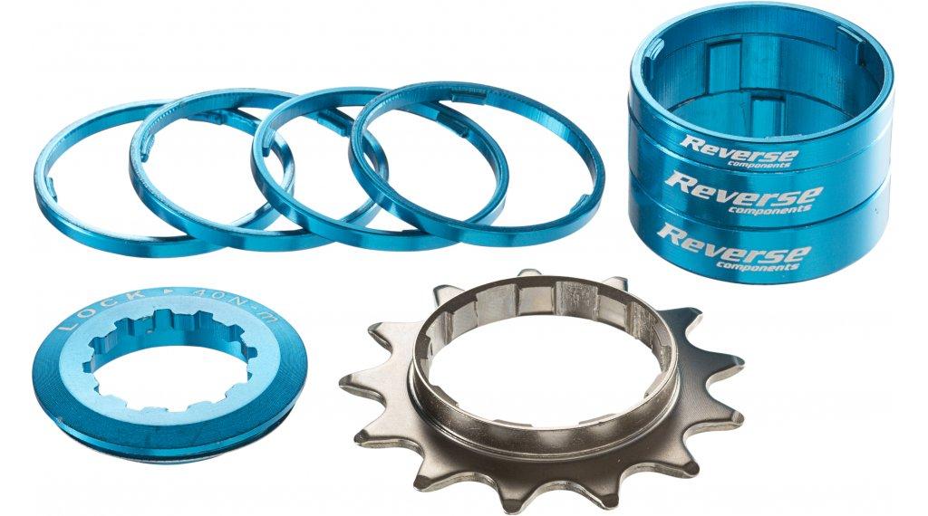 Reverse Single-Speed-改装组件 改装组件 来自 有颜色的 Alu-Spacern + 飞轮 13齿 light blue
