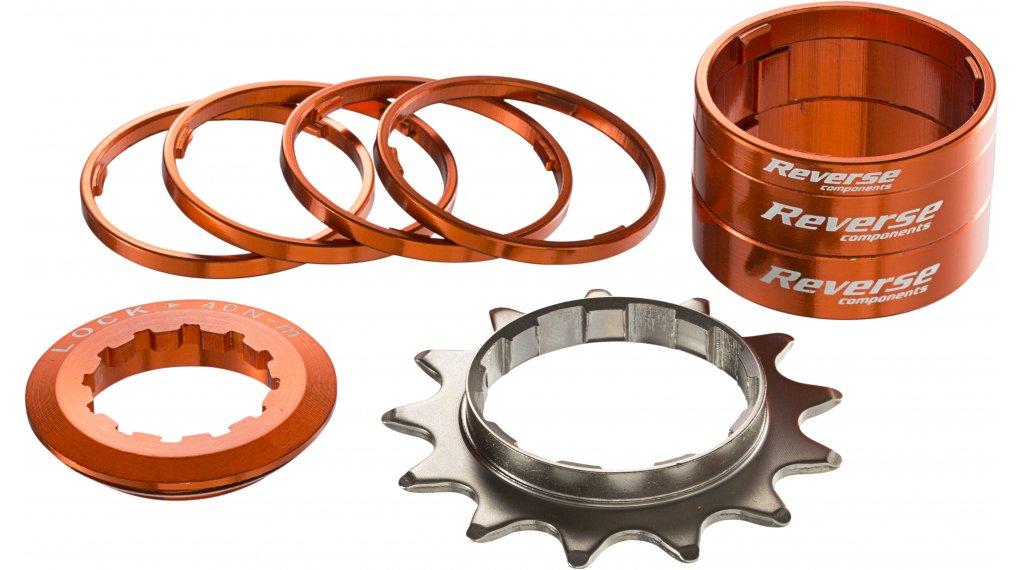 Reverse Single-Speed-改装组件 改装组件 来自 有颜色的 Alu-Spacern + 飞轮 13齿 橙色