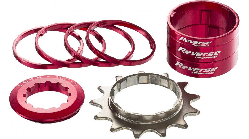 Reverse Single-Speed-改装组件 改装组件 来自 有颜色的 Alu-Spacern + 飞轮 13齿 红色