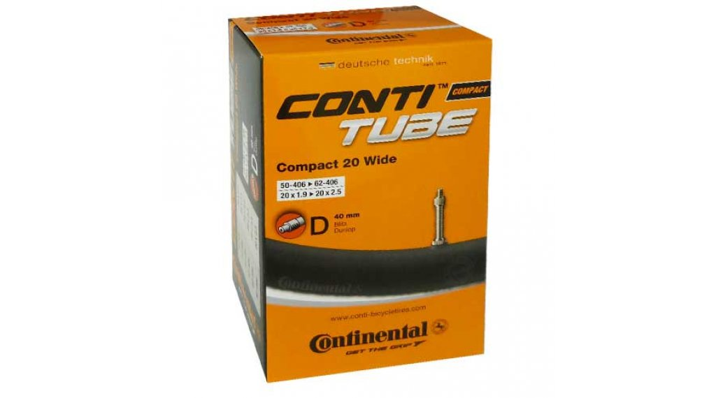 Continental Compact 20 wide 自行车内胎 50-406 -> 62-451 (20x1.9-2.5) Dunlop气门芯(德嘴) 40mm