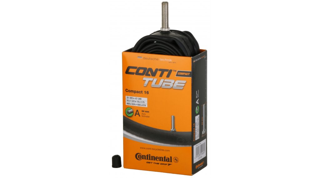 Continental Compact 16 自行车内胎 32-305 -> 47-349 (16x1 3/8-1.75) 汽车气门芯(美嘴) 34mm