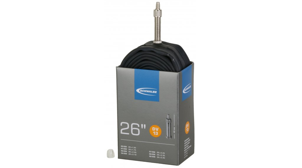 """Schwalbe Schlauch Nr. 13 für 26 DV13 Standard (26x1.50-2.50"""") Dunlopventil 40mm, 190g"""