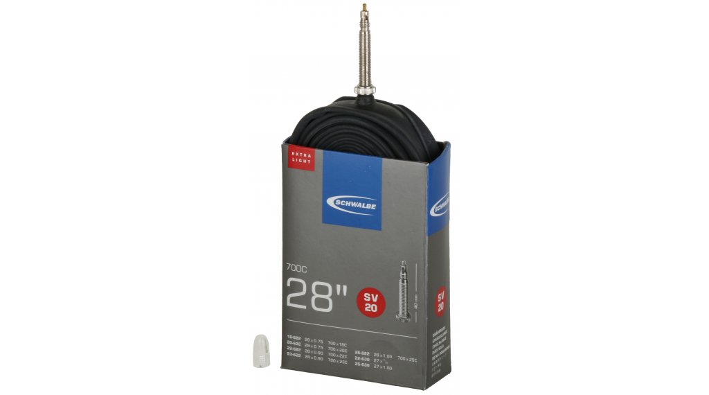 Schwalbe tube Nr. 20 for 28 SV20 ExtraLight (700/18-25C) fr cable- valve 40mm, 65g