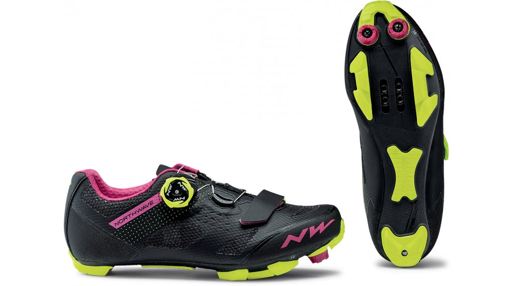 Northwave Razer MTB-Schuhe Damen Gr. 39.5 black/fuchsia/yellow