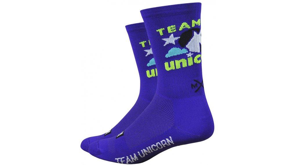 DeFeet Aireator Moxy and Grit by Sonya Looney Team Unicorn (15cm) Sportsocken Gr. S (36-39,5) blau