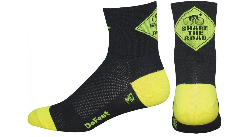 DeFeet Aireator Single-Bund Share the Road (8cm) Sportsocken Gr. S (36-39,5) neon gelb