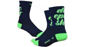 DeFeet Aireator 8cm socks Doppel-collar Do Epic Shit blue/neon green