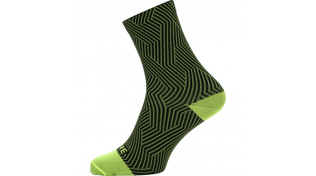 Gore C3 Optiline socks mid length size 35/37 neon yellow/black