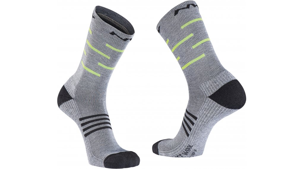 Northwave Extreme Pro High Socken Gr. XS gray melange/yellow fluo