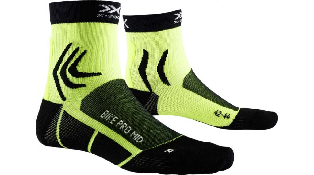 X-Socks Bike Pro Mid Socken Gr. 39-41 opal black/phyton yellow