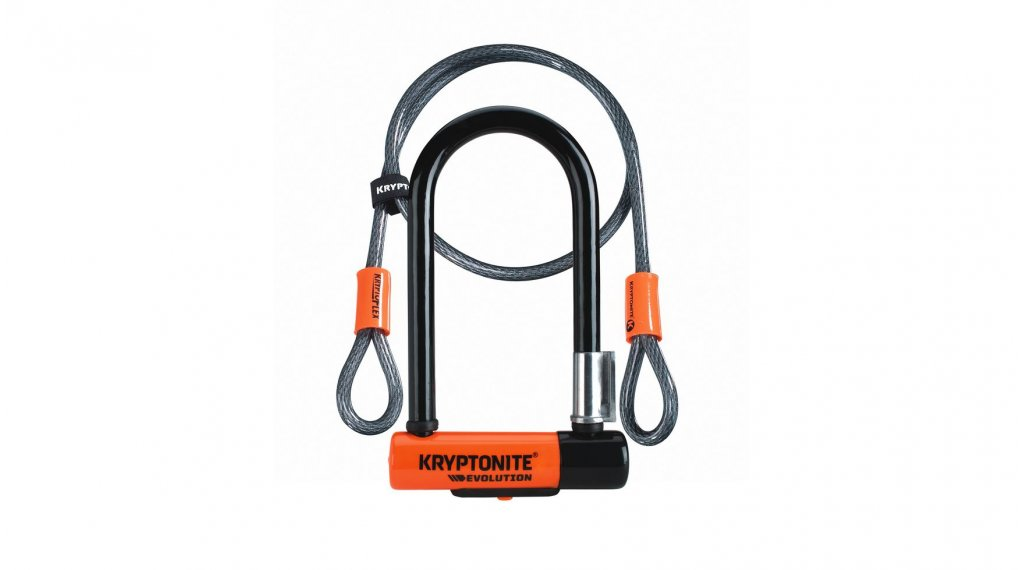 Kryptonite Evolution Mini-7 lucchetto a U 8mm x 17.8cm + Kryptoflex Endschlaufenkabel 10mm x 120cm nero/arancione